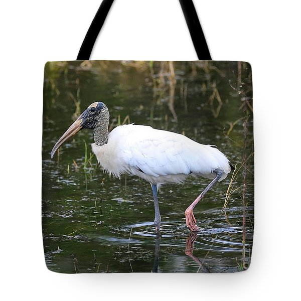 Wood Stork Through The Marsh Tote Bag