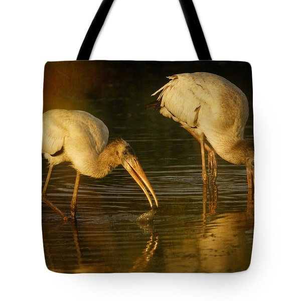 Wood Storks Feeding Tote Bag