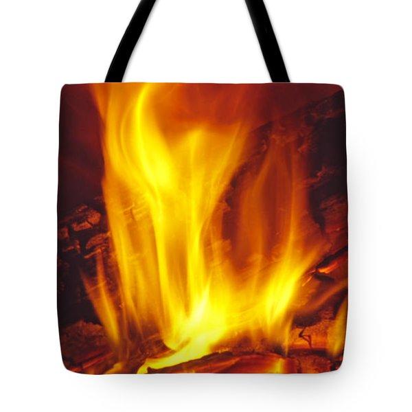 Wood Stove - Blazing Log Fire Tote Bag
