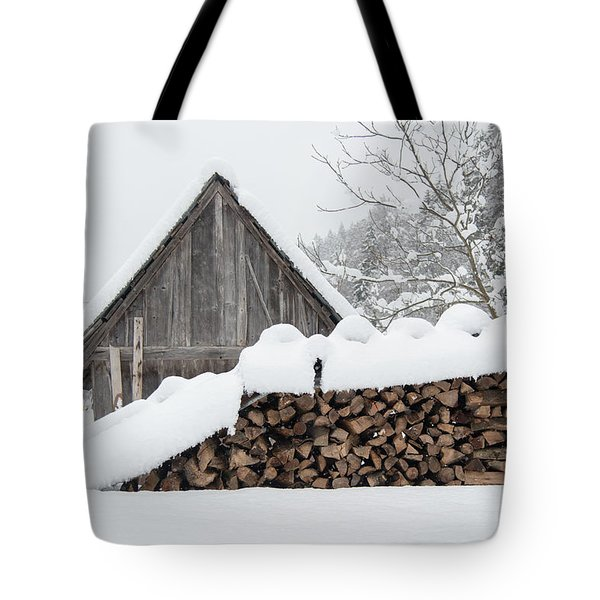 Wood Under The Snow Tote Bag