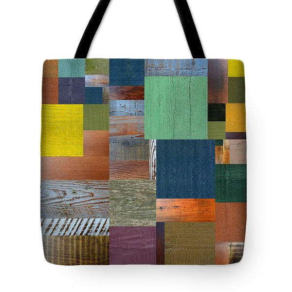 Wood With Teal And Yellow Tote Bag by Michelle Calkins