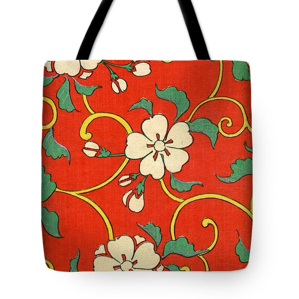 Woodblock Print Of Apple Blossoms Tote Bag