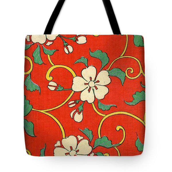 Woodblock Print Of Apple Blossoms Tote Bag