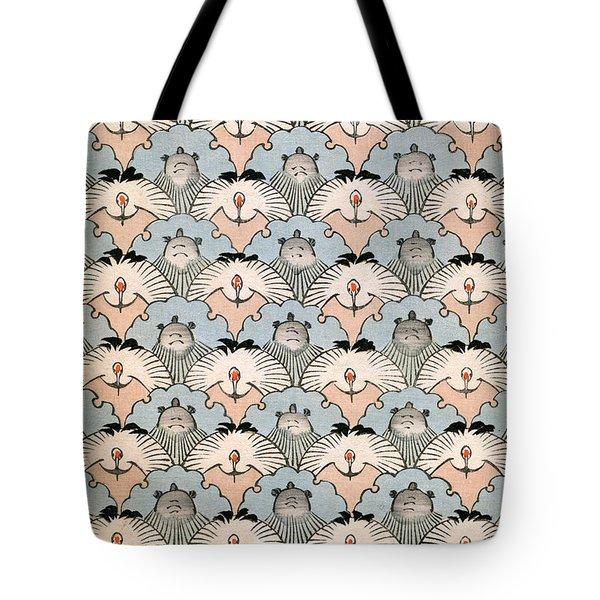 Woodblock Print Of Ibis And Bats Tote Bag by Japanese School