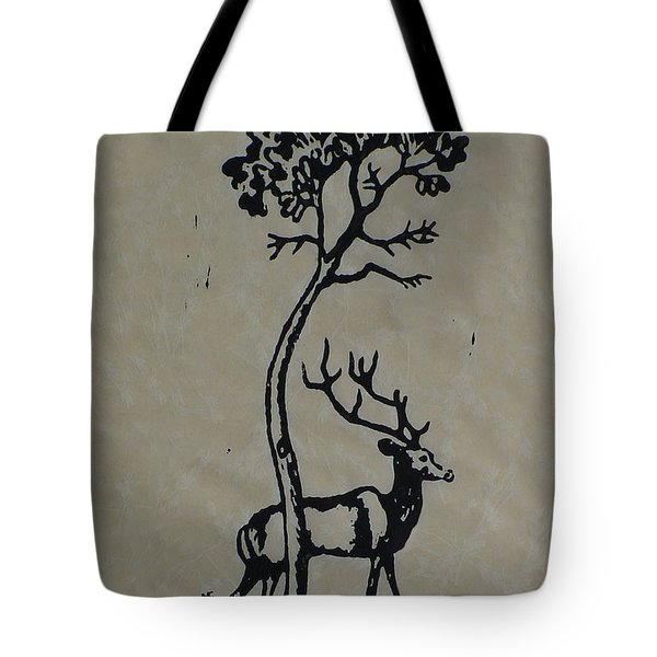 Woodcut Deer Tote Bag by Shirley Heyn