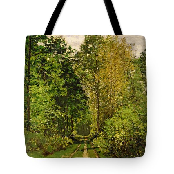 Wooded Path Tote Bag by Claude Monet