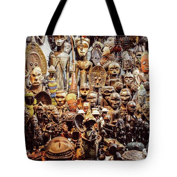 Wooden African Carvings Tote Bag