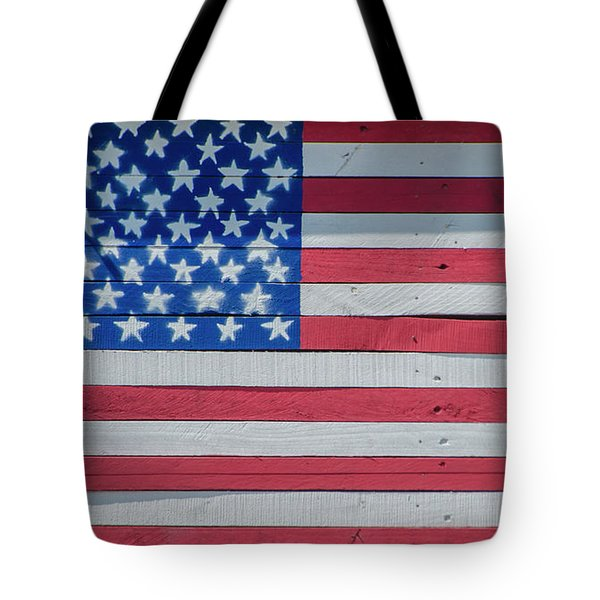 Tote Bag featuring the photograph Wooden American Flag by Bill Cannon