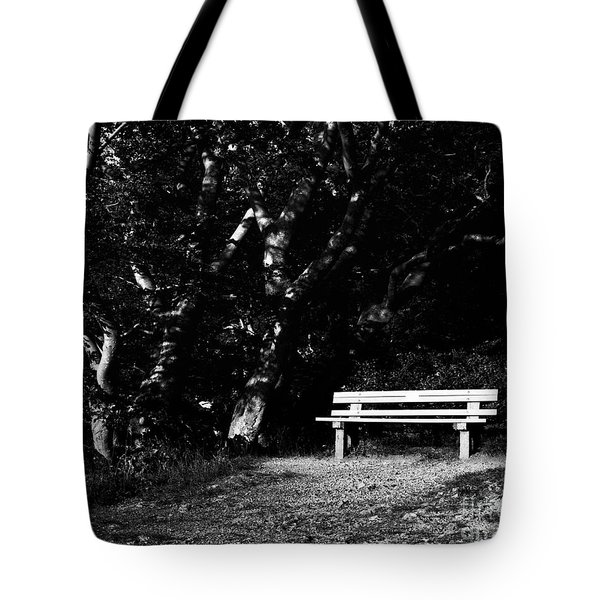 Wooden Bench In B/w Tote Bag