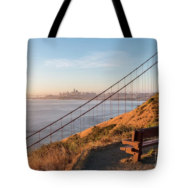Wooden Bench Overlooking Downtown San Francisco With The Golden  Tote Bag