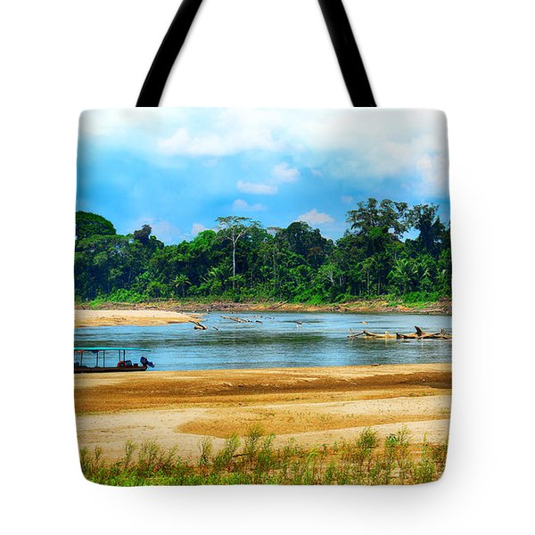 Wooden Boat In Backwaters Jungle Tote Bag