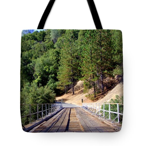 Wooden Bridge Over Deep Gorge Tote Bag by Mary Deal