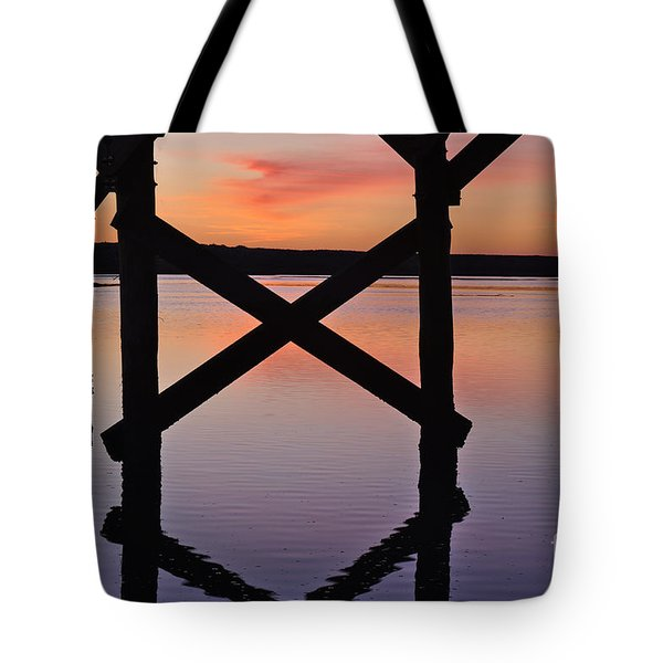 Wooden Bridge Silhouette At Dusk Tote Bag