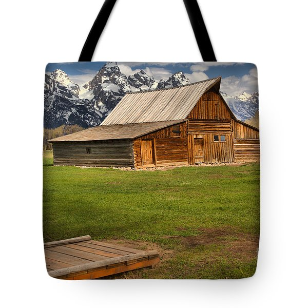 Wooden Bridge To The Wooden Barn Tote Bag by Adam Jewell