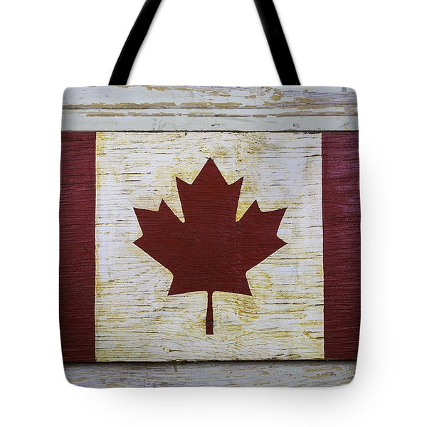 Wooden Canadian Flag Tote Bag