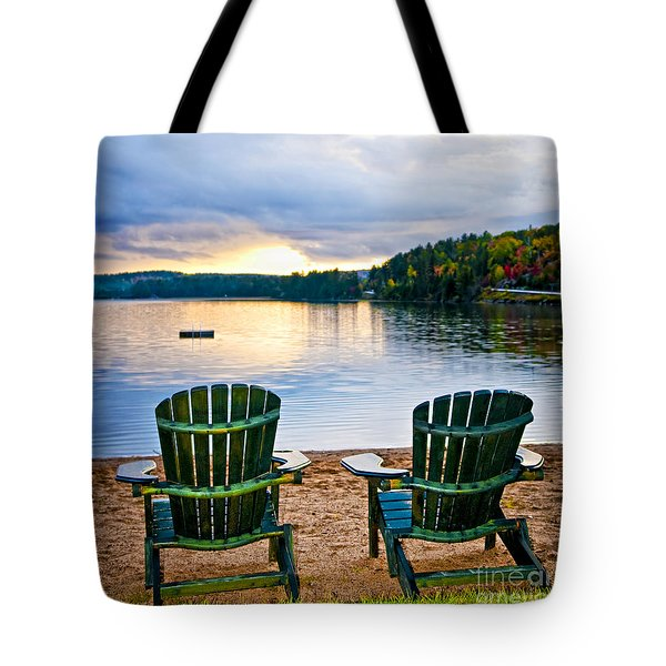 Wooden Chairs At Sunset On Beach Tote Bag by Elena Elisseeva
