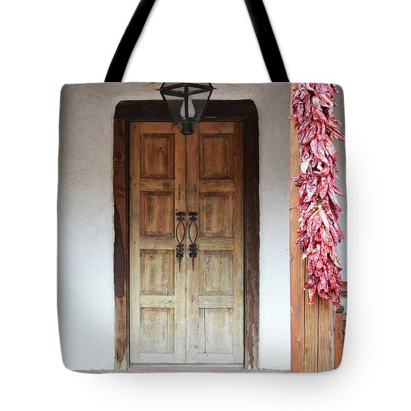 Tote Bag featuring the photograph Wooden Chili Door by Andrea Hazel Ihlefeld
