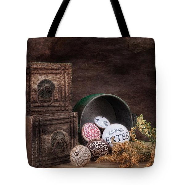 Wooden Drawers And Knobs Still Life Tote Bag