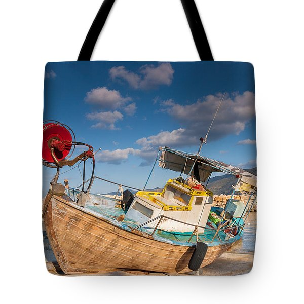 Wooden Fishing Boat On Shore Tote Bag