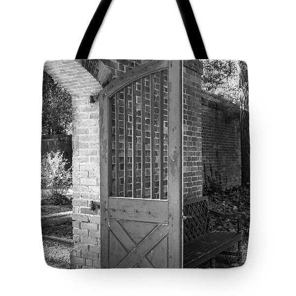 Wooden Garden Door B W Tote Bag