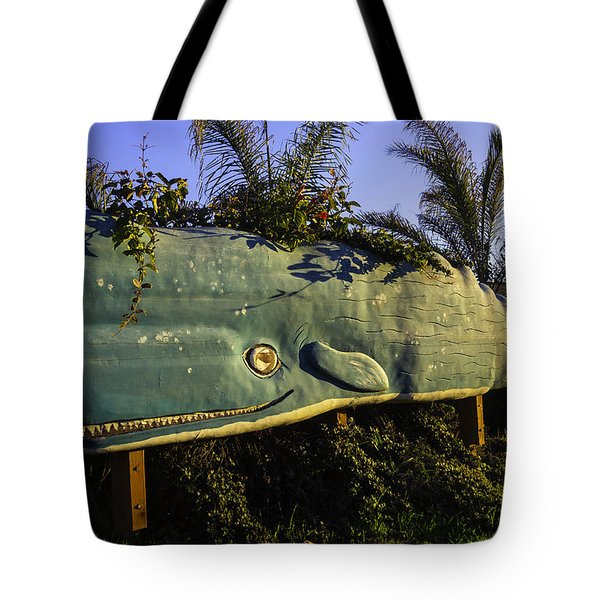 Wooden Green Whale Tote Bag