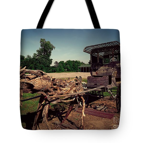 Tote Bag featuring the photograph Wooden Horse And Buggie by Melissa Messick