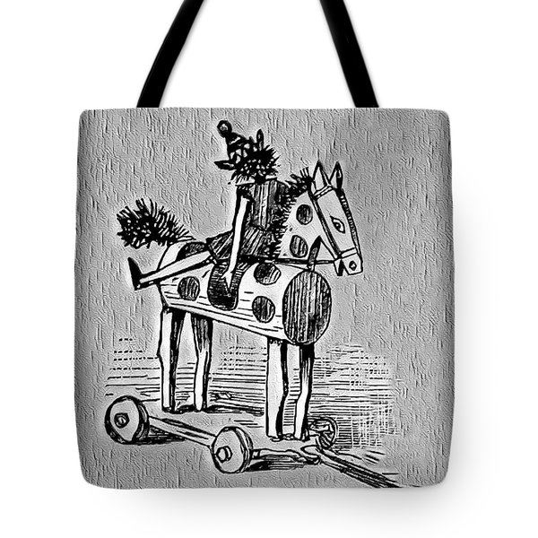 Tote Bag featuring the digital art Wooden Horse by Pennie McCracken