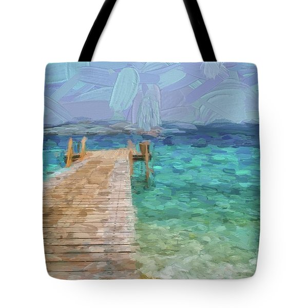 Wooden Jetty And Boat Tote Bag