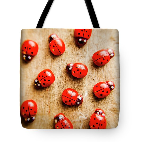 Wooden Ladybugs Tote Bag