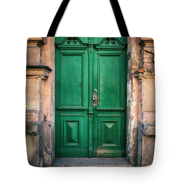 Wooden Ornamented Gate In Green Color Tote Bag by Jaroslaw Blaminsky
