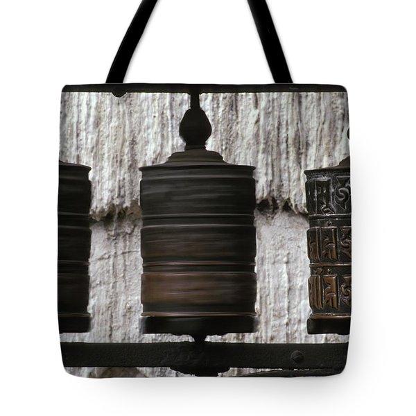 Wooden Prayer Wheels Tote Bag by Sean White