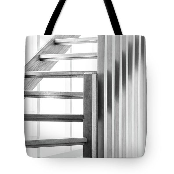 Tote Bag featuring the photograph Wooden Staircase Black And White by Tim Hester