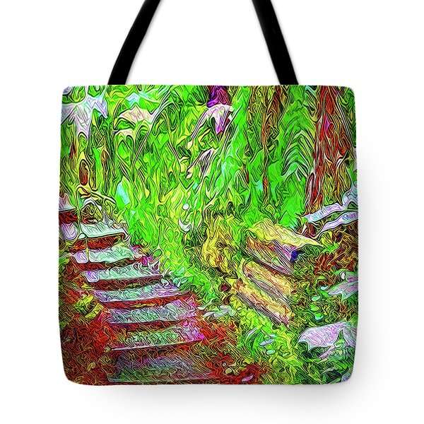 Tote Bag featuring the digital art Wooden Steps Through The Forest - Tamalpais California by Joel Bruce Wallach