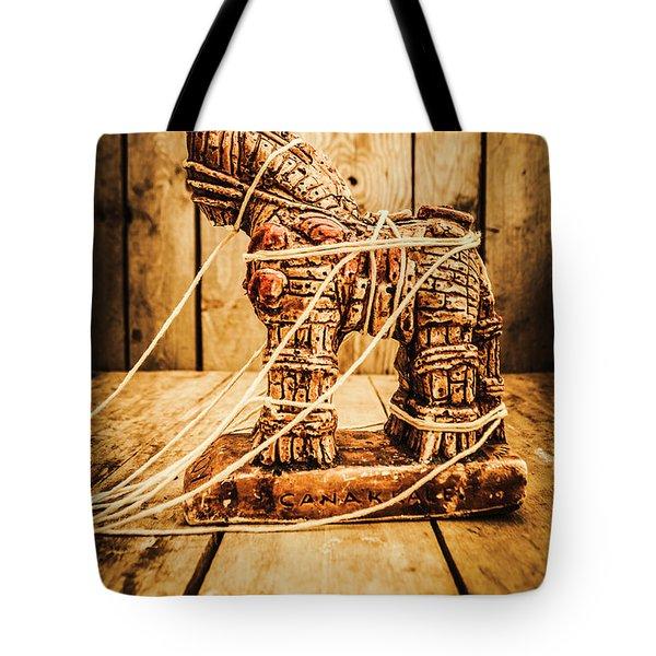 Wooden Trojan Horse Tote Bag