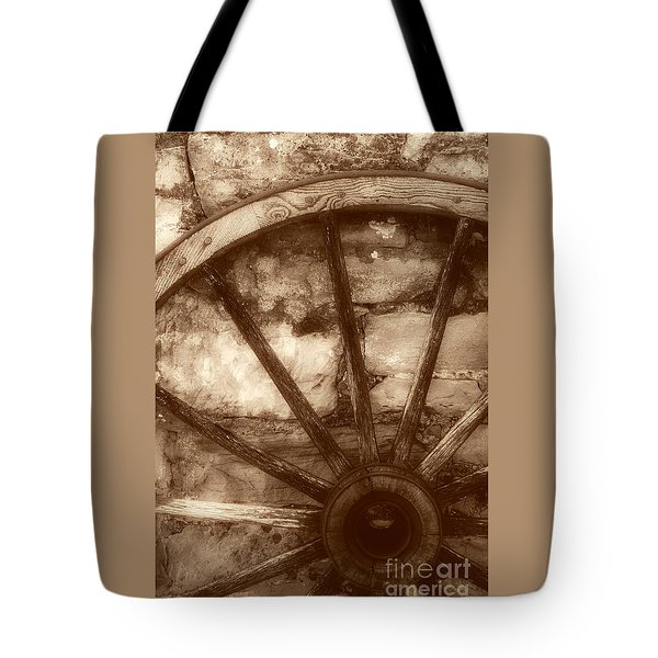 Wooden Wagon Wheel Tote Bag