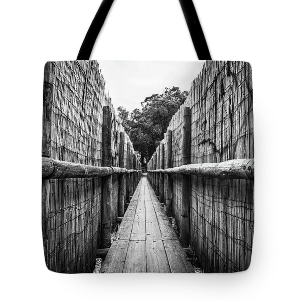 Tote Bag featuring the photograph Wooden Walkway. by Gary Gillette