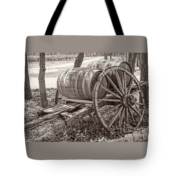 Wooden Wine Barrels On Cart Tote Bag