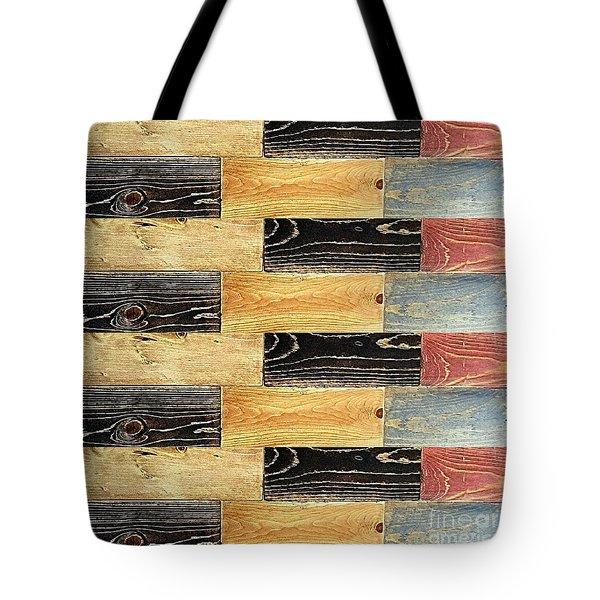 Woodgrain Art Abstract Golds Black Blues Tote Bag by Scott D Van Osdol