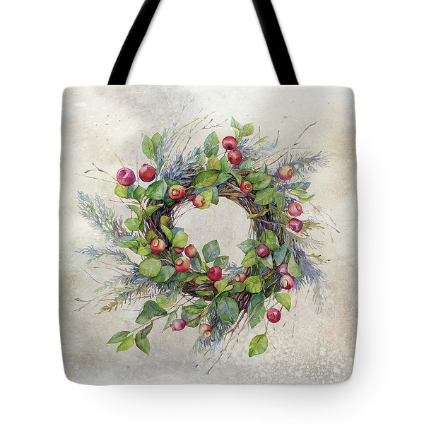 Woodland Berry Wreath Tote Bag by Colleen Taylor