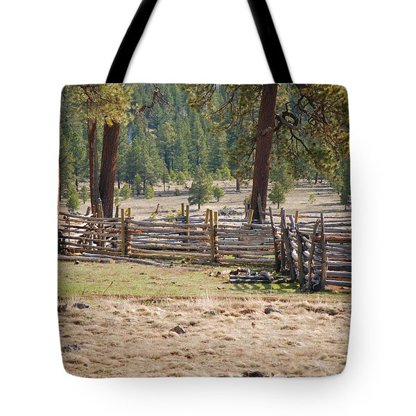 Woodland Corral - White Mountains Arizona Tote Bag by Donna Greene