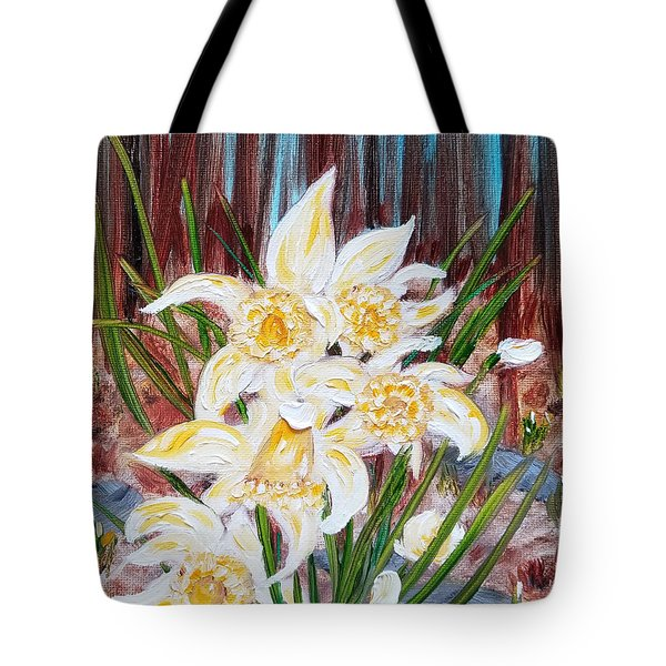 Tote Bag featuring the painting Woodland Daffodils by Judith Rhue