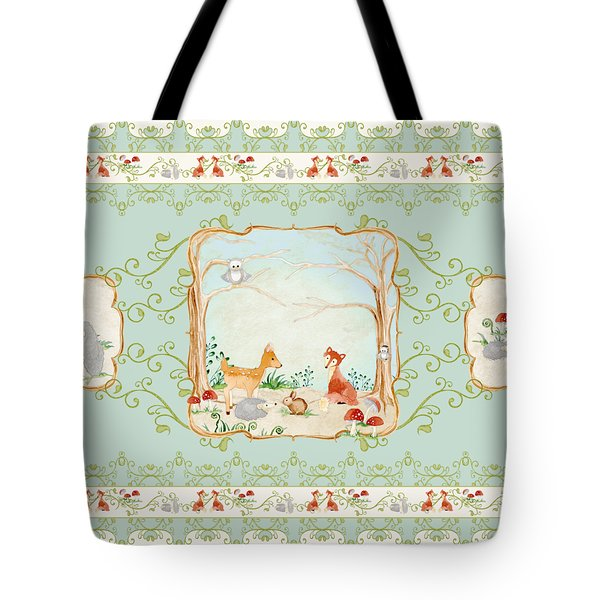 Woodland Fairy Tale - Aqua Blue Forest Gathering Of Woodland Animals Tote Bag