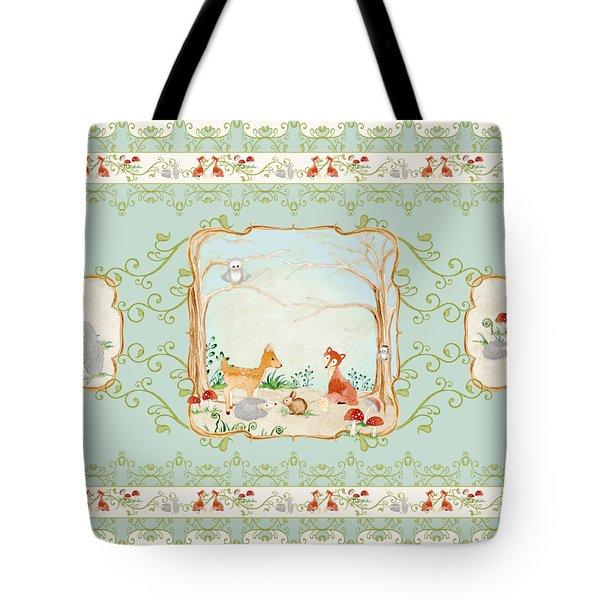 Woodland Fairy Tale - Aqua Blue Forest Gathering Of Woodland Animals Tote Bag