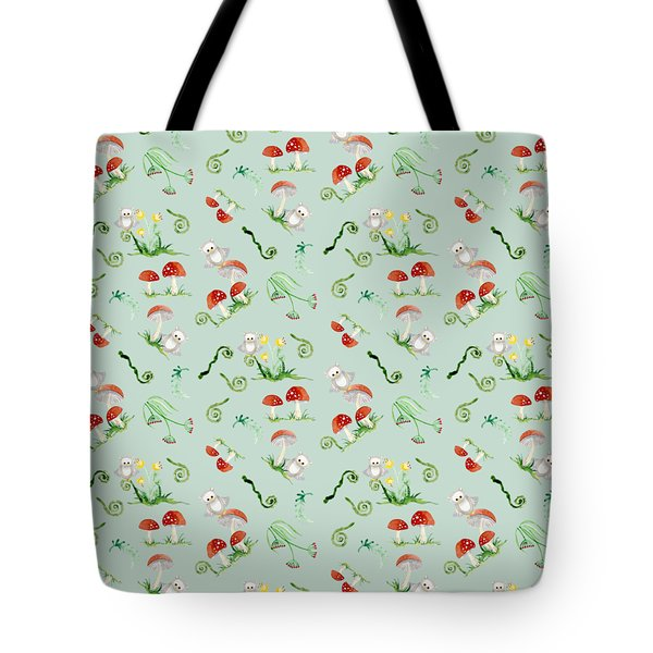 Woodland Fairy Tale - Red Mushrooms N Owls Tote Bag by Audrey Jeanne Roberts