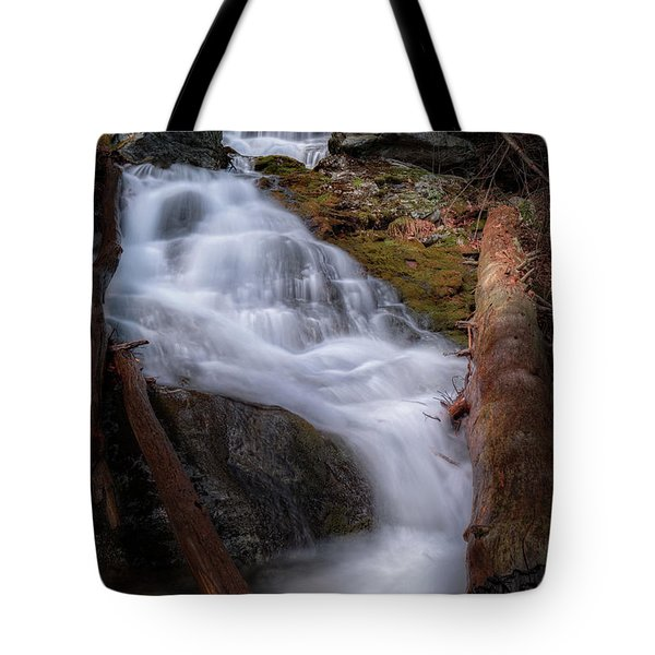 Tote Bag featuring the photograph Woodland Falls 2017 by Bill Wakeley