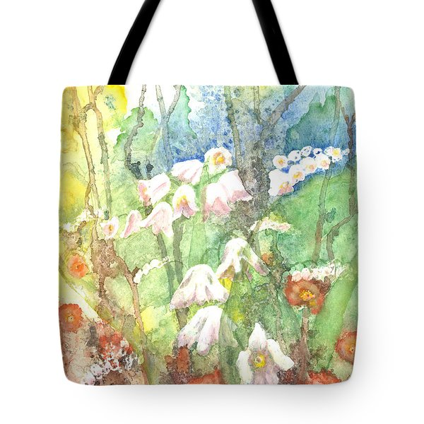 Tote Bag featuring the painting Woodland Garden by Renate Nadi Wesley