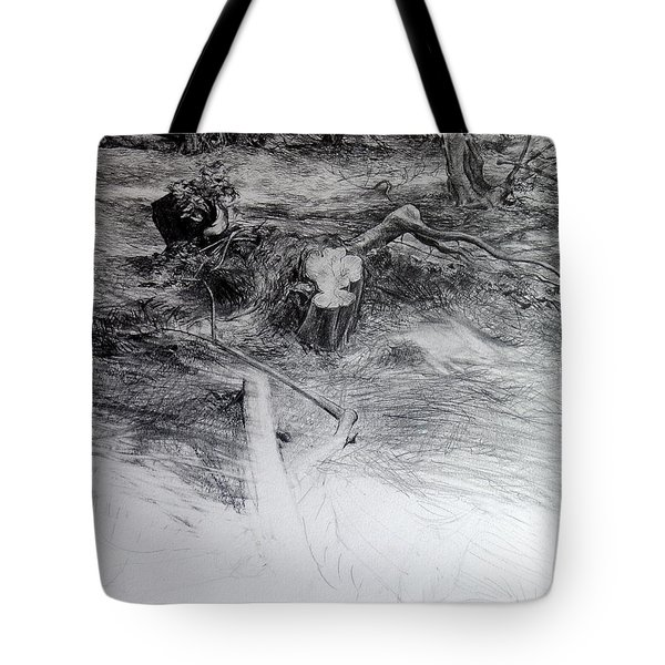 Tote Bag featuring the drawing Woodland by Harry Robertson