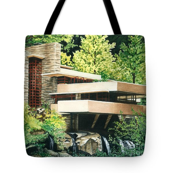 Tote Bag featuring the painting Fallingwater-a Woodland Retreat By Frank Lloyd Wright by Barbara Jewell