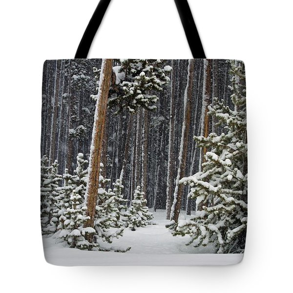Woodland Snowstorm In Yellowstone Tote Bag