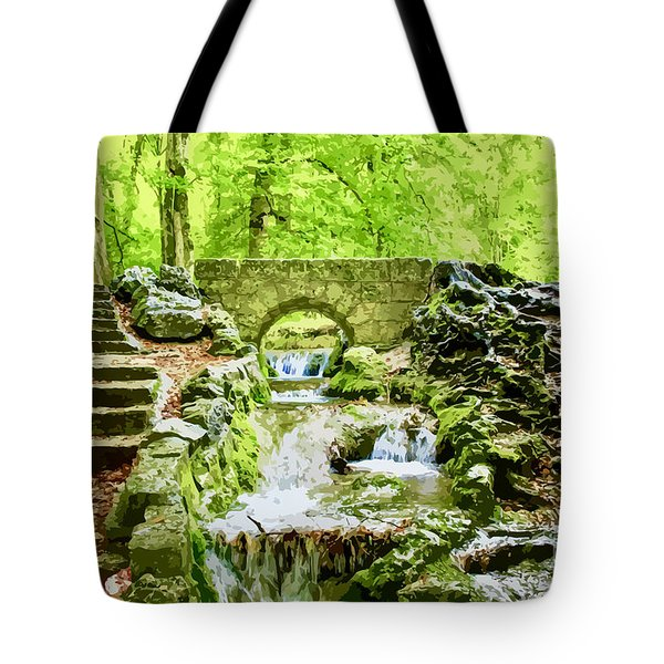 Woodland Steps And Stream Tote Bag
